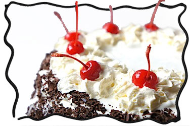 Black forest cake - mmm! with gorgeous ruby cherries!
