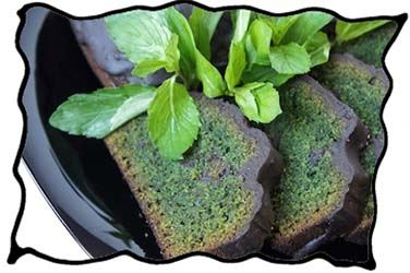 Mint leaves and mint chocolate cake