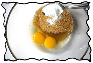 Mix of eggs, brown sugar, soda, salt and vanillin powder