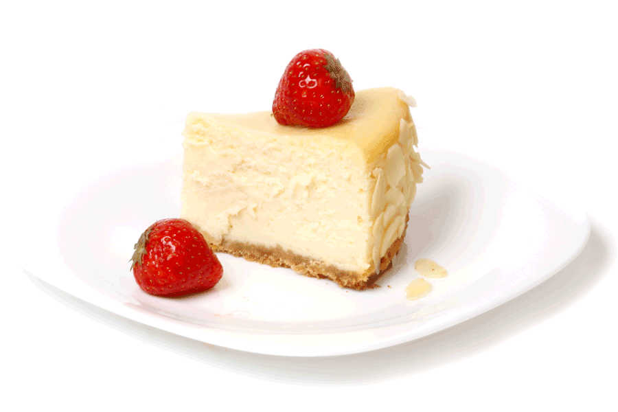 Slice of New York cheesecake with strawberries