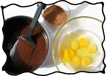 Melted dark chocolate, cocoa and eggs