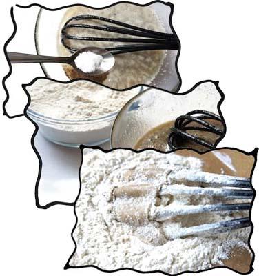 Adding salt, soda, cinnamon and flour