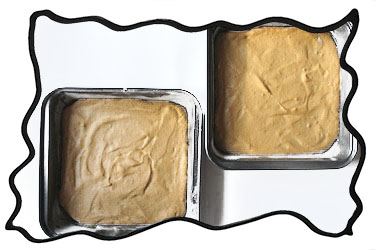 Angel food cake layers in square forms