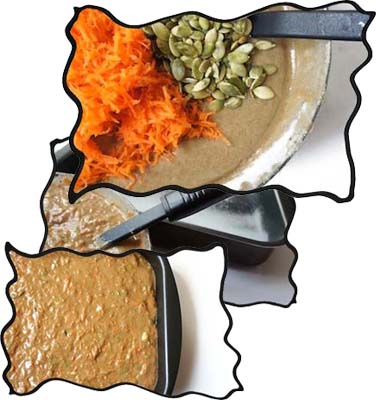 Folding in carrots and pumpkin seeds