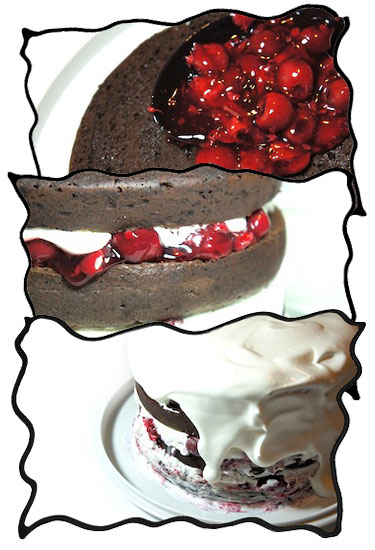 Assembling black forest cake: cherry filling and whipped cream