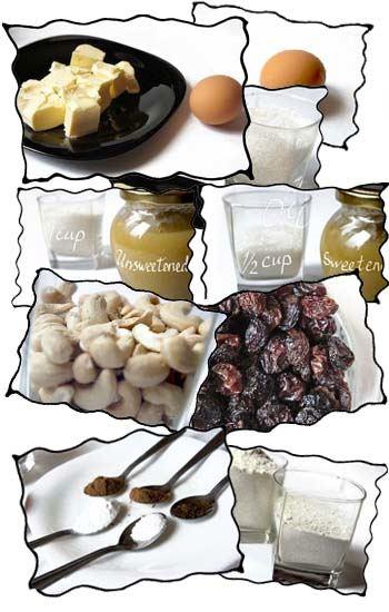 Applesauce cake ingredients: butter, egg, flour, sugar, applesauce, cinnamon, baking soda, raisins, nuts