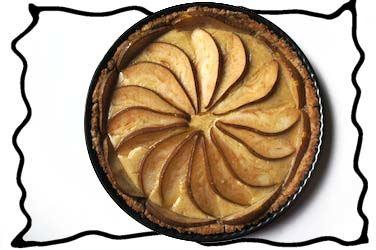 Freshly baked pear custard pied
