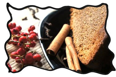 Spice cake slices with cinnamon and ashberries aside