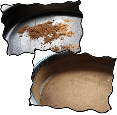 Greasing baking form and powdering it with cocoa