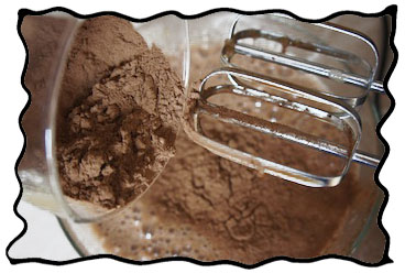 Mixing cocoa and eggs