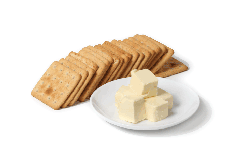 Crackers and butter for cheesecake crumbcrust