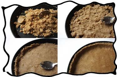 Tramping crumb crust into the form