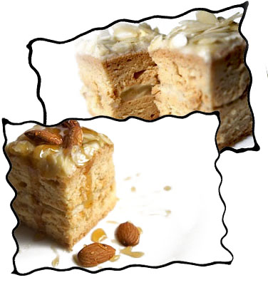 Angel food cake with almonds and honey
