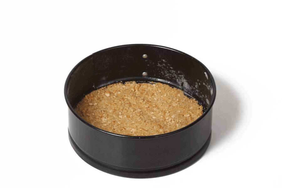 Cheesecake crumb crust before baking
